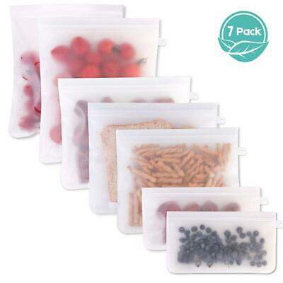 7pcs Kitchen Fresh Zip lock Bags Reusable Silicone Food Freezer Storage Ziplock