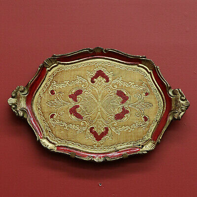 Vintage Italian Florentine Venetian Serving Tray in Gilt and Garnet Red Colours