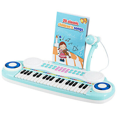 37-Key Toy Keyboard Piano Electronic Musical Instrument with Microphone Blue