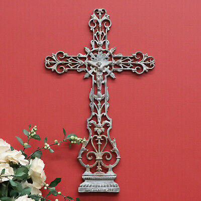 Antique French Indoor Hanging Worship Cross Crucifix, Cast Iron Jesus on Cross