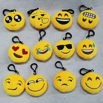 12PC Mixed Emoji Emoticon Smile Face Pendant Keychain Keyring Women Accessories
