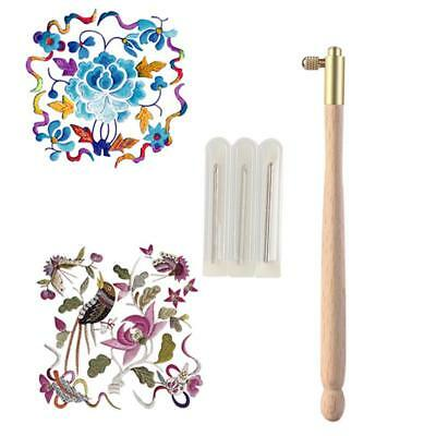 DIY CraftWooden Handle Tambour Needles Beading Crochet Set Embroidery Supply JJ