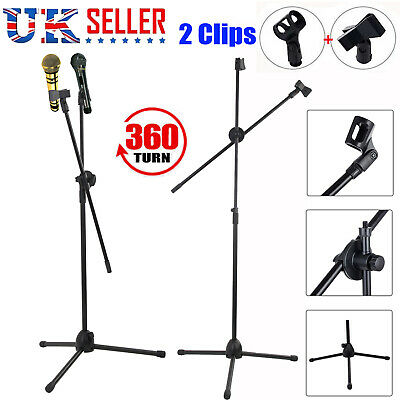 Pro Microphone Stand Foldable Boom Adjustable Holder Tripod Black w/ 2 Mic Clips