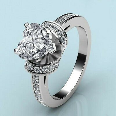 Women Gorgeous 925 Silver Rings Heart White Sapphire Wedding Ring Size 6-10 new-