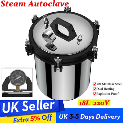 220V 2KW Pressure Steam Autoclave Sterilizer Medical Dental Tattoo Dual Heat 18L
