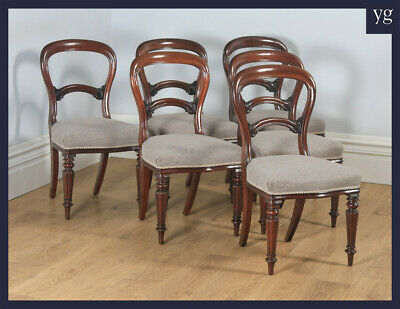 Antique English Victorian Set of Six Mahogany Balloon Back Dining Chairs c1860