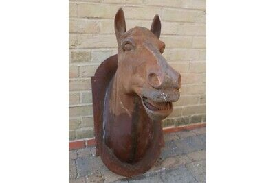 Wall Plaque Horse Head Cast Iron Large Hanging Plaque Rusty Finish Feature