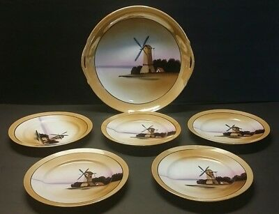 Art Deco Orange Luster Cake Plate Set with Hand Painted Windmill - Japan