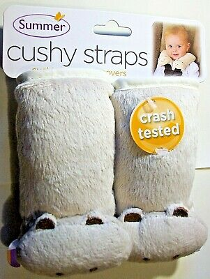 NWT Infant Baby Plush Cushioned Car Seat Strap Covers Beige Animal Paw Free Ship