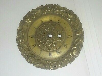 AG-052 Antique Clock Face Brass Ornate 3.25-inches in Diameter for Parts Only