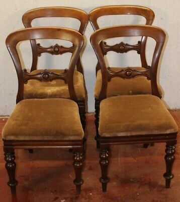 1905 Set 4 Victorian Mahogany Barback Dining Chairs with Gold Upholstery