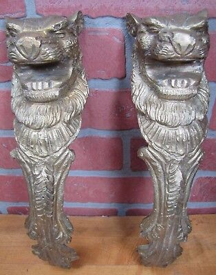LIONS HEADS 2 Old Cast Brass Figural Architectural Hardware Elements Thick Solid