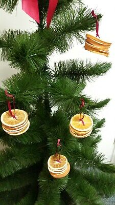 Natural Dried Orange Slice Christmas Tree Decorations tied with red ribbon
