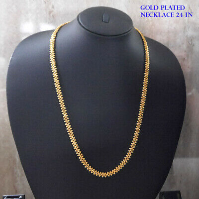 Hip Hop 24k Gold Plated Chain Asain Curb Chain Link Necklace Fashion Jewellery