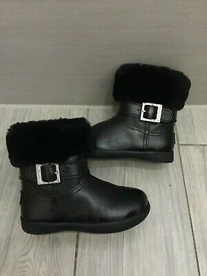 Girls Genuine Black Patent Leather Ugg Australia Gemma Boots, Size 6, Ex Con!