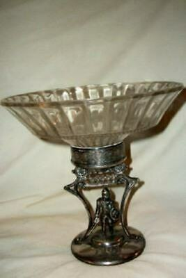 Antique Aesthetic Silverplate Glass Compote Viking Figure Victorian