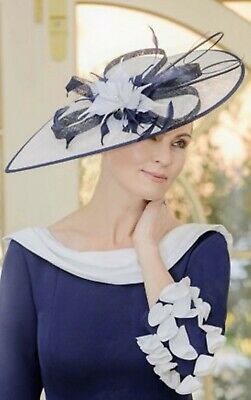NIGEL RAYMENT IVORY NAVY WEDDING ASCOT HAT DISC HATINATOR Mother Of The Bride