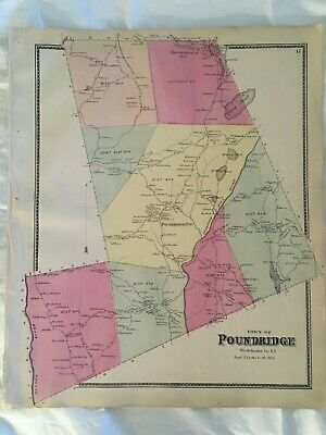 Town of Poundridge 1867 Lithograph by F.W. Beers