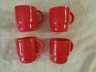 Vintage 4 TUPPERWARE  COFFEE MUGS, CUPS, CHILDREN'S CUPS, Bright Red, 3 1/2 in.