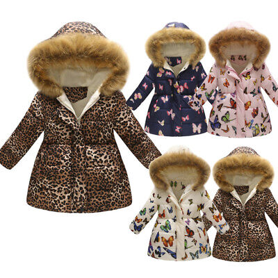 Toddler Baby Girl Winter Warm Coat Kid Thick Hooded Windproof Jacket Outwear KI