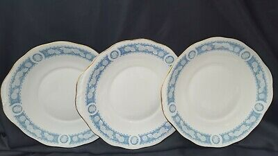 ROYAL VALE  Blue White Eared  Bread & Butter Serving/Cake Plates x 3
