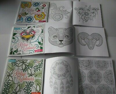 Colour Therapy Adult Colouring Books -Choice of 3, Floral, Animals & Patterns