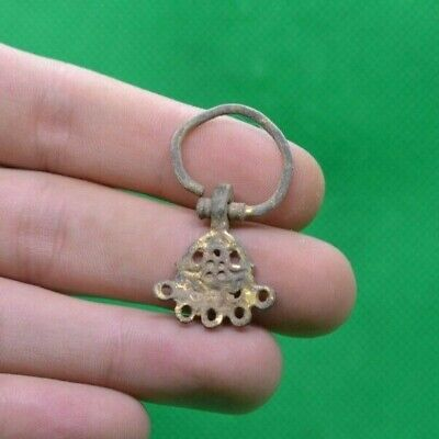 Ancient Celtic Druids Gold Plated Bronze Solar Earring - 300/100 Bc - Rare