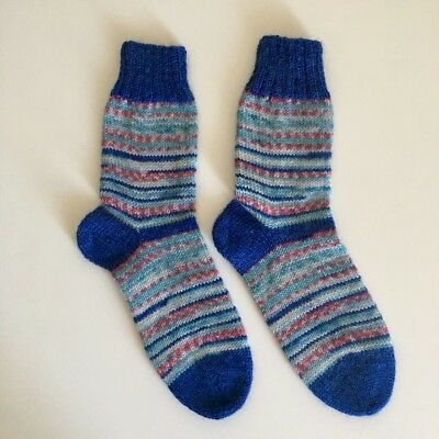 A Pair Of Hand Knitted Kids Socks - EUR 28/29 (UK 10/11) - 4-5 Yrs Old