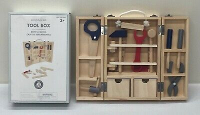 NEW Pottery Barn KIDS Wooden 34-pc. Builder Toolbox Tools & Hardware Set~*READ*