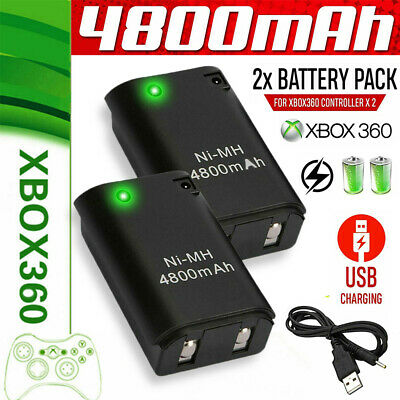 2X4800mAh Battery Pack + Charger Cable Xbox 360 Wireless Controller Rechargable