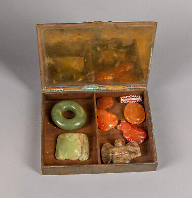 Box of Chinese Antique Jade & Agate Pendant