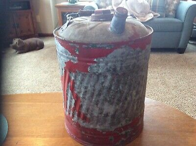 Vintage Galvanized Metal Gas Oil Kerosene Can Wood Handle 5 Gallon(Display Only)