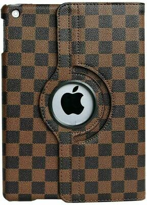 "Apple iPad 10.2"" (7th gen / 2019) - Brown Checkered Plaid Stand Cover Case Pouch"