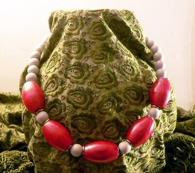 Chunky Solid Wooden Beaded Necklace Bracelet Handmade