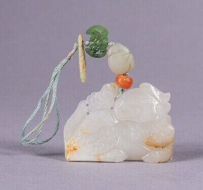 Chinese Antique White Jade Chilin Pendant