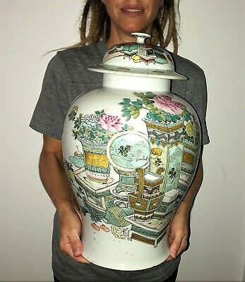 Antique CHINESE PORCELAIN JAR with ORIGINAL LID PRECIOUS OBJECTS Qing POT VASE 2