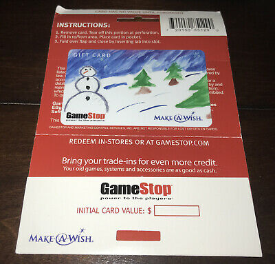 Game Stop Gift Card Make A Wish Winter Snowman Drawing No Value New Collectible