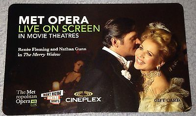 "Cineplex Collectible Movie Gift Card New ""The Merry Widow"" Metropolitan Opera"