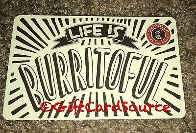 2014 Chipotle Gift Card Life Is Burritofull Collectible New