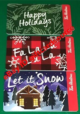 Lot of 3 Tim Hortons CANADA 2019 Let It Snow Happy Holiday Fa la Gift Card New