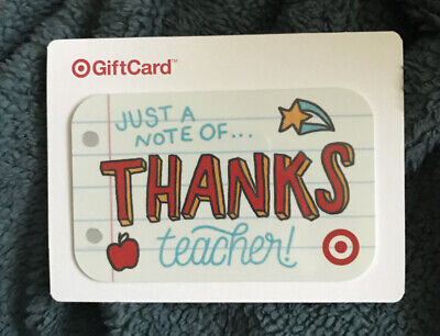"Target 2017 Gift Card ""Just A Note Of...thanks Teacher!"" No Value New"