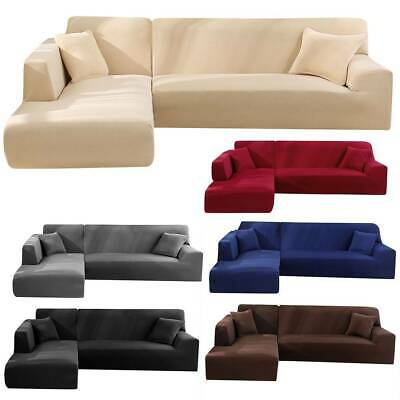 Stretch Sofa Slipcover Covers Protector L-Shape Slip Lounge Couch Washable Seats