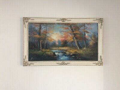 Authentic Oil Painting - Very nice piece of Art -Wonderful Forest River - Signed
