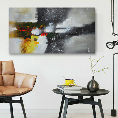 Modern Abstract Oil Painting On Canvas Huge Stretched House Decor With Frame