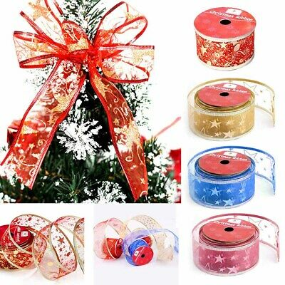 1Roll Christmas Ribbon Tying Wreath&Tree Decoration DIY Crafts Gift Wrapping
