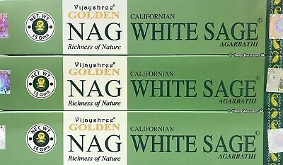 """Californian White Sage"" 3 Packets Golden Vijayshree Masala Incense Sticks 3x15g"