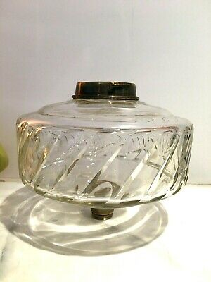 antique clear glass large oil lamp fount bayonet collar
