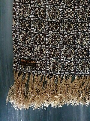 Woodland Vintage Tassel Scarf Mens Gold Brown Retro Print
