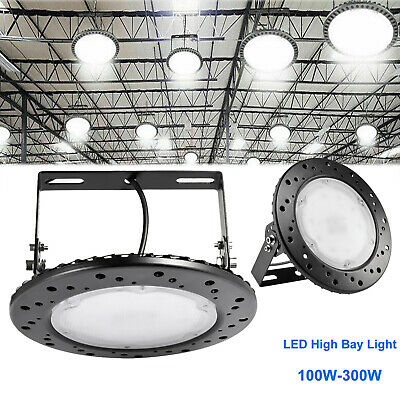LED High Bay Light 100/200/300W UFO Warehouse Industrial Lights Cool White IP65