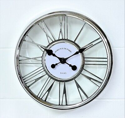 Silver Plastic Cut Out Round Wall Clock Roman Numerals Numbers Home Time Display